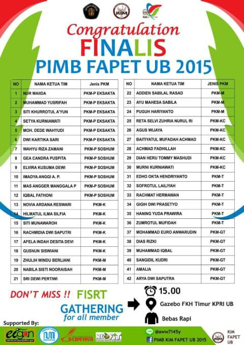 Pengumuman Finalis PIMB FAPET UB 2015